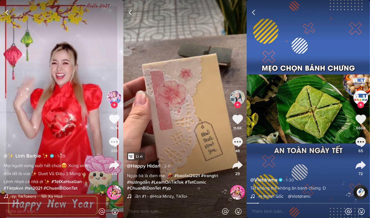 Trên TikTok, những khoảnh khắc chuẩn bị đón Tết được người dùng tích cực chia sẻ dưới dạng video ngắn, cùng hiệu ứng và âm nhạc bắt tai, đã thành công tái hiện bầu không khí vui tươi và thu hút lượt tương tác lớn từ cộng đồng.